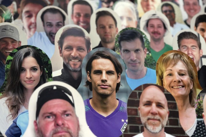 A cardboard picture of Moenchengladbach's Swiss goalkeeper Yann Sommer (centre) stands in the stands ahead the match.