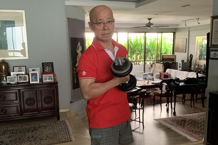 Ms Cherie Sim launched a challenge on her Instagram page to hold a 10-minute plank, while Dr William Wan (above) posted a video earlier this month of himself doing push-ups to encourage people to keep fit during the circuit breaker. Actor and host Allan W