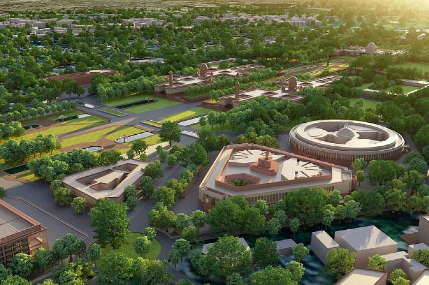 An artist's impression of the new triangular Parliament building next to the existing British-era circular one in the iconic Central Vista area of Delhi.