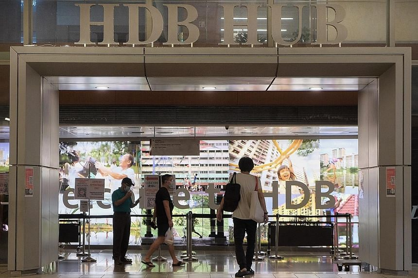 Service counters at HDB Hub (above) and HDB branches will resume, by appointment only, from June 2. Others include service centres for tax issues and employment passes.