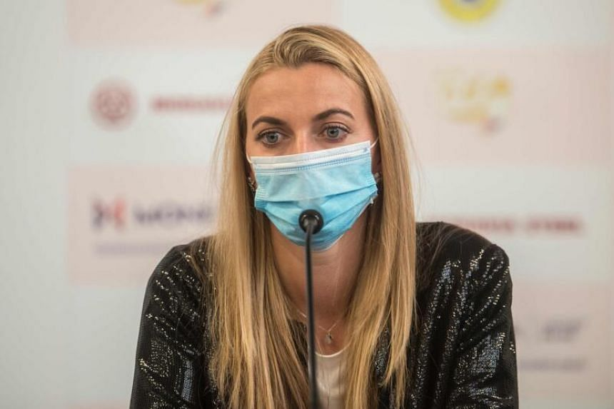 Czech tennis player Petra Kvitova at a press conference on May 25, 2020.