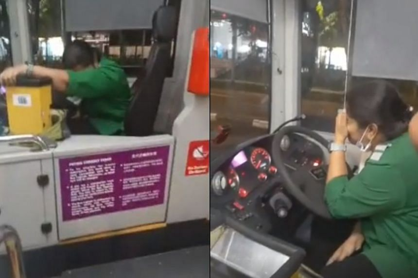The bus captain could be seen sobbing and clutching a mobile phone, with a box of tissues placed next to her.