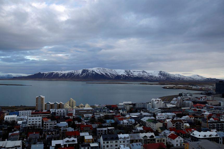 A view of Reykjavik seen from Hallgrimskirkja church on Feb 13, 2013.