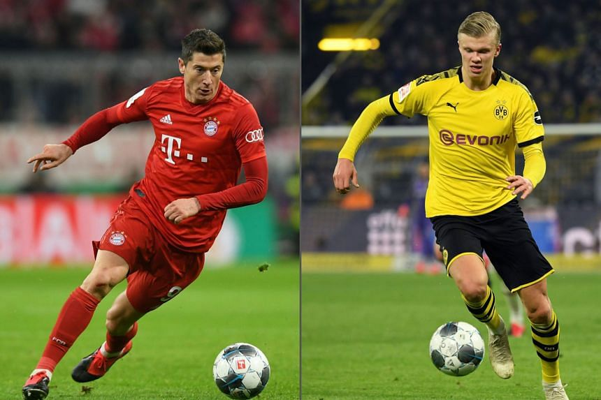 Bayern Munich striker Robert Lewandowski (far left) heads the Bundesliga tally with 27 goals this season while Dortmund have young Erling Haaland, who has netted 10 times in as many matches since his arrival in January. PHOTO: AGENCE FRANCE-PRESSE