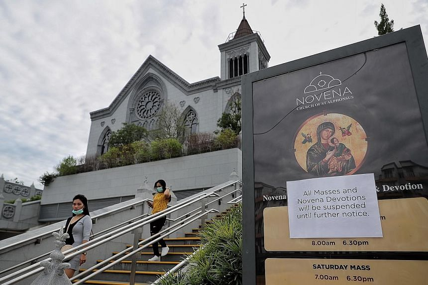 The Church of St Alphonsus in Novena. In phase one, religious workers are not allowed to conduct religious rites and ceremonies in places of worship, except for marriage solemnisations and funeral-related activities. ST FILE PHOTO Pre-school children