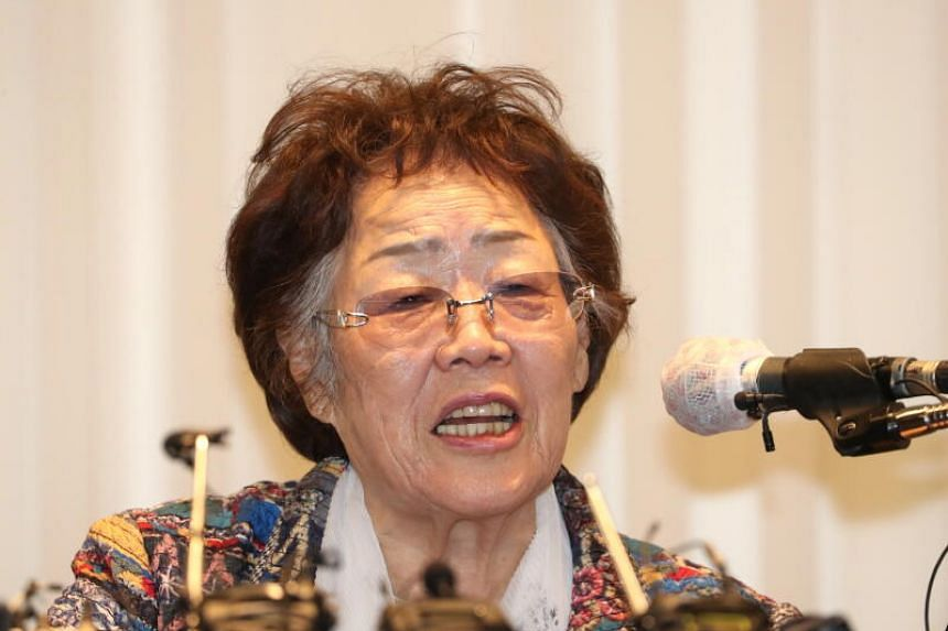 Madam Lee Yong-soo, a South Korean victim of Japanese military's sexual slavery during World War II speaks at a news conference in Daegu, on May 25, 2020.