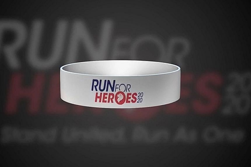 Runners of the 1km virtual race will get two bands - one bearing a personalised message will be sent to front-line staff.