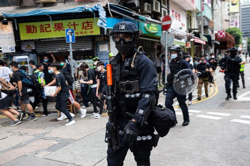 Police are seen during a protest against the implementation of a national security law in Hong Kong on May 24, 2020.