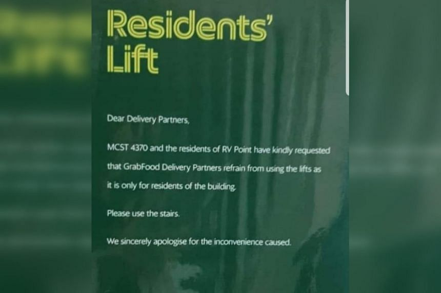 """GrabFood explained that it had put up the poster in March last year because some riders would """"hog"""" the lift."""
