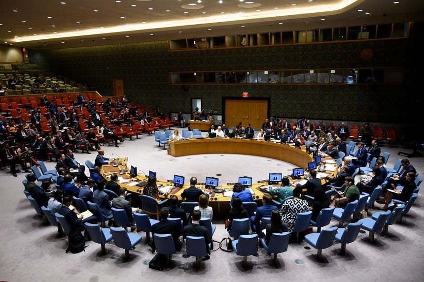 A United Nations Security Council meeting in New York on Aug 13, 2019.
