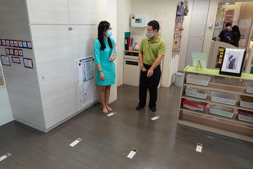 Minister for Social and Family Development Desmond Lee visiting My First Skool @ Blk 491 Admiralty Link on May 29, 2020.
