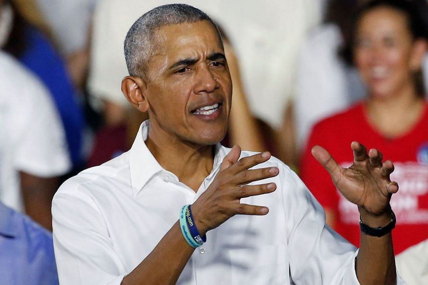 A 2018 photo shows former US President Barack Obama speaking at an election rally.