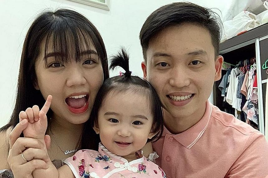 Above: Renovation contractor Alloyious Koh of Carpenters Design Group is short of manpower as he has many workers who remain stuck in Malaysia. Left: Ms Shermaine Chan with her husband Yip Ching Hing and their 20-month-old daughter, Phoebe, before th