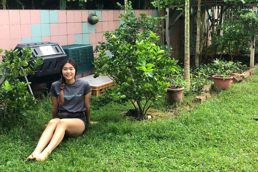 Home-grown fruit and vegetables now make up about 10 per cent of the daily diet of Ms Yap Su Chii (above).