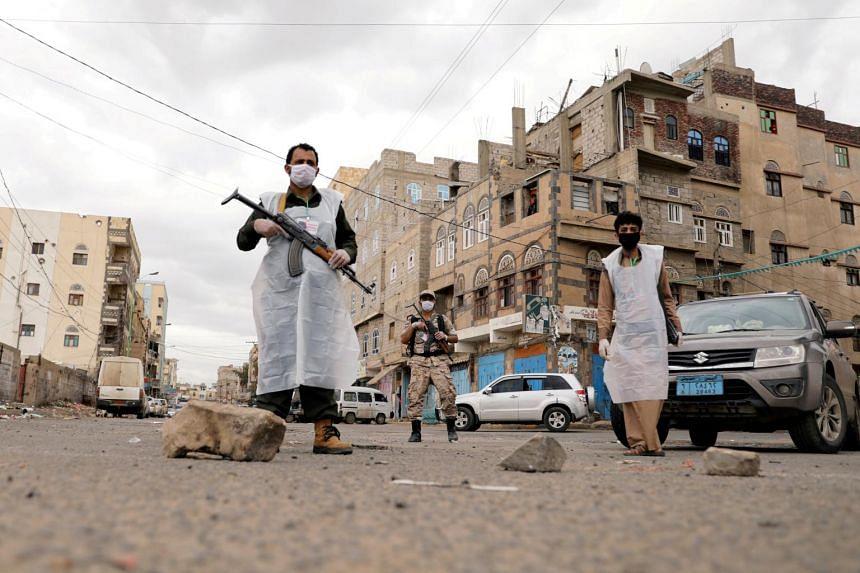 Security men in Sanaa, Yemen on May 6, 2020.