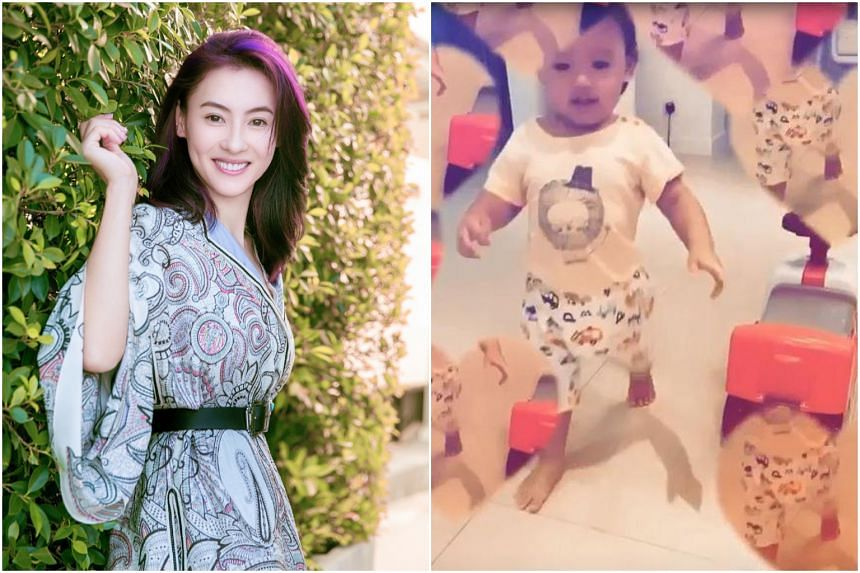 Hong Kong actress Cecilia Cheung posted a video of her son Marcus playing with a push car.