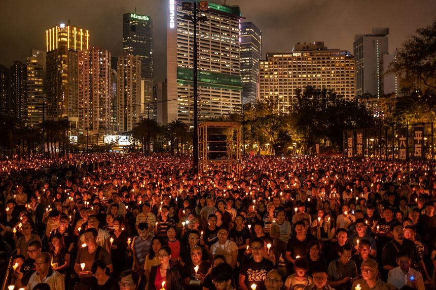 A candlelight vigil in Hong Kong on June 4, 2019, commemorating the 1989 crackdown on activists in Beijing's Tiananmen Square.