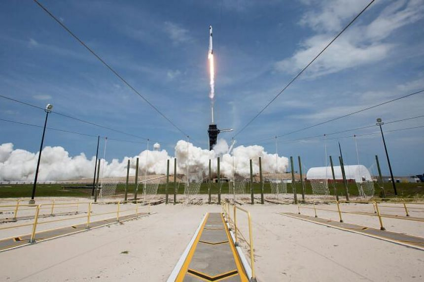 The SpaceX Falcon 9 rocket launching from Nasa's Kennedy Space Centre on May 30, 2020.