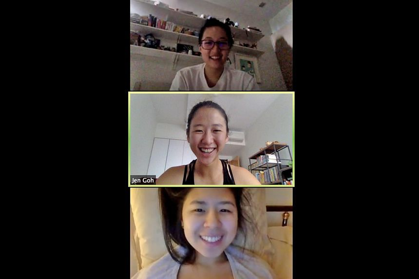 """Digital marketing and creative strategist Wilshia Maruli (from top), national golfer Jen Goh and arts entrepreneur Victoria Chen of HopeFull. The project has distributed """"survival kits"""" - consisting of arts and crafts materials, activity sheets, refl"""