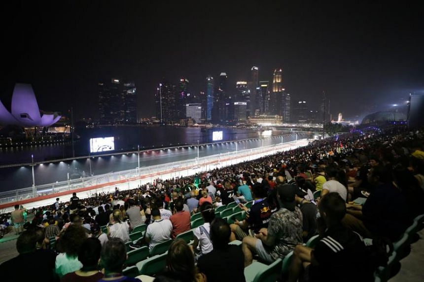 Spectators at the Marina Bay Street Circuit for the Singapore Airlines Singapore Grand Prix on Sept 22, 2019.