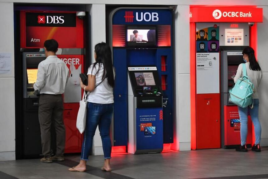 DBS, UOB and OCBC ATMs at the Singapore Institute of Management on March 12, 2020.