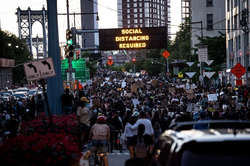 Protests in New York City over the weekend against police abuse in the wake of Mr George Floyd's death in Minneapolis. Mass protests that have brought thousands of people out of their homes and onto the streets in cities across America are raising