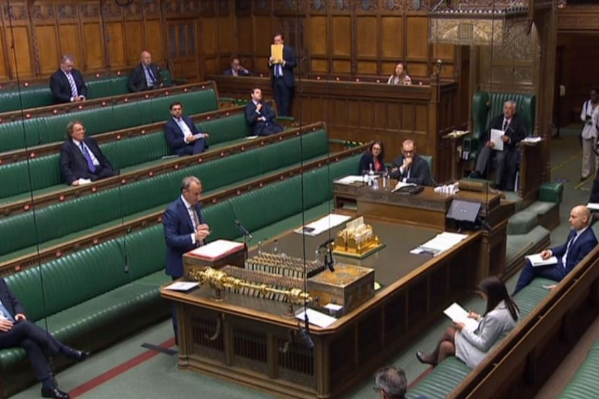 British Foreign Secretary Dominic Raab speaking in Parliament in London on June 2, 2020.