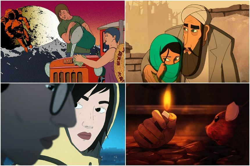 (From top left, clockwise) Stills from movies Have A Nice Day, The Breadwinner and I Lost My Body.