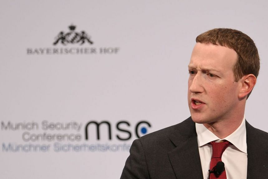 Zuckerberg speaks during the annual Munich Security Conference in Germany, in February 2020.