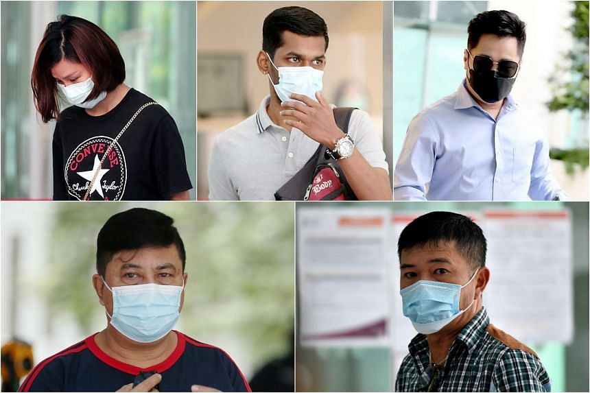 (Clockwise from top left) Cheng Fengzhao, Arvinish N. Ramakrishnan, Chng Tianxi, George Heng Seng Huat and Zahari Samat were sentenced in court over offences linked to the coronavirus outbreak.