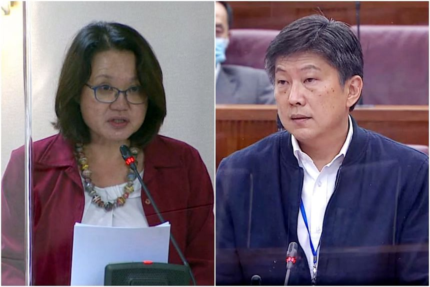 Workers' Party chairman Sylvia Lim and labour chief Ng Chee Meng in Parliament on June 4, 2020.