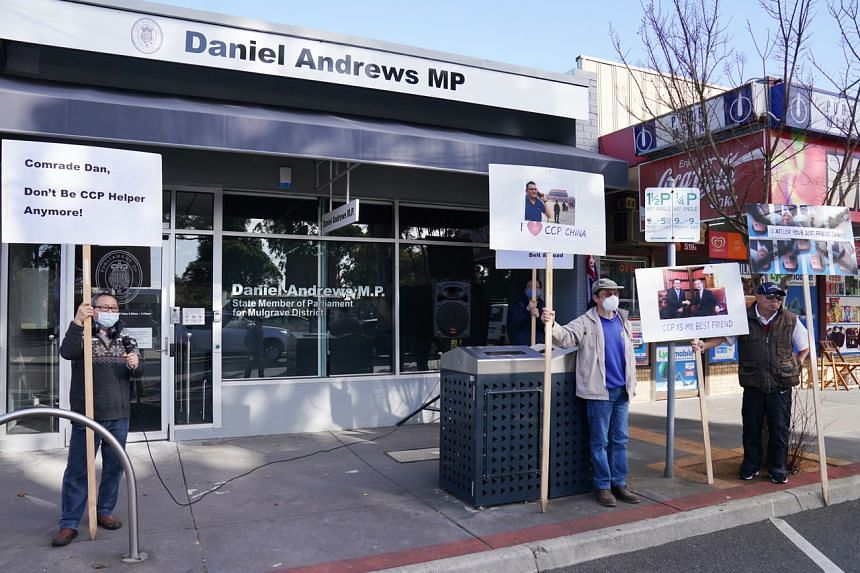 Protesters gather outside the electorate office of Victorian Premier Daniel Andrews in Melbourne, on June 4, 2020.