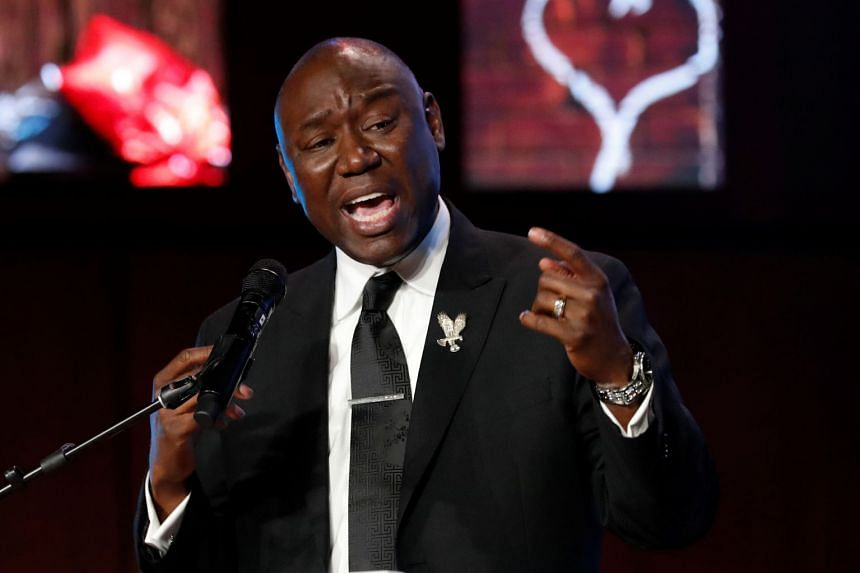 Civil rights attorney Benjamin Crump speaks during a memorial service for George Floyd.