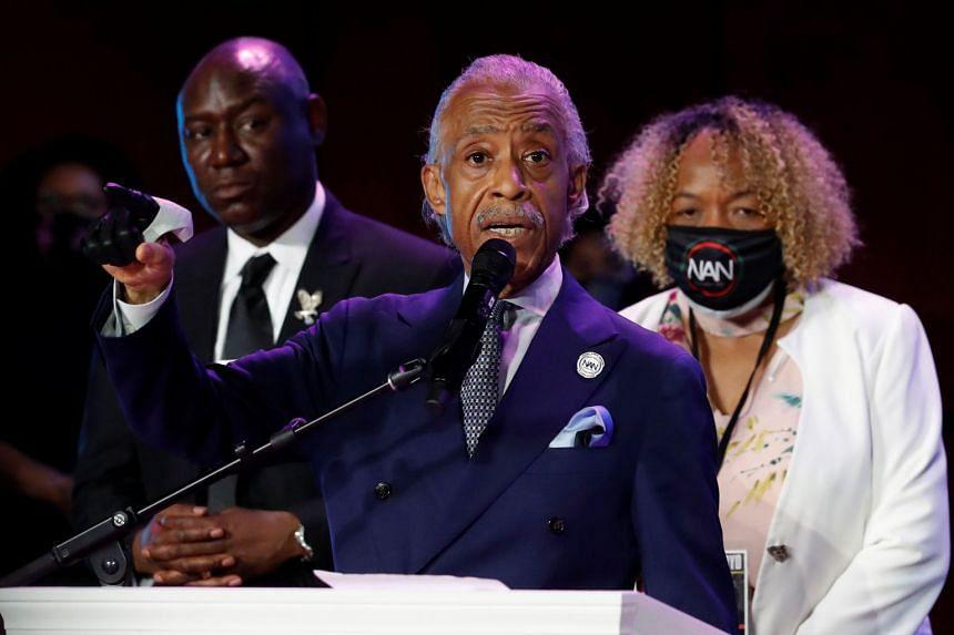 Reverend Al Sharpton speaks during the memorial service for George Floyd.