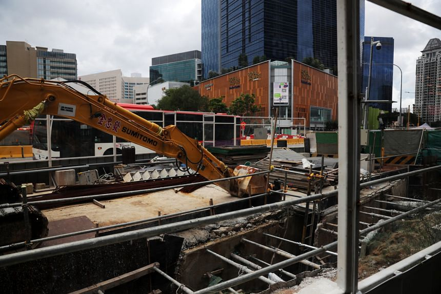 A photo of a construction site along Thomson road, on June 1, 2020.