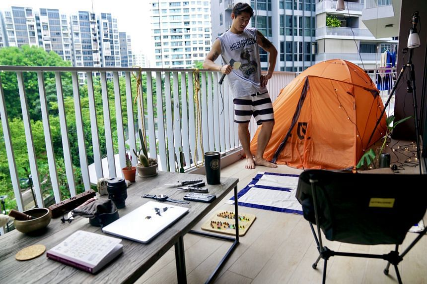 Mr Scott Tay says being outdoors at his balcony campsite helps him spark new ideas.