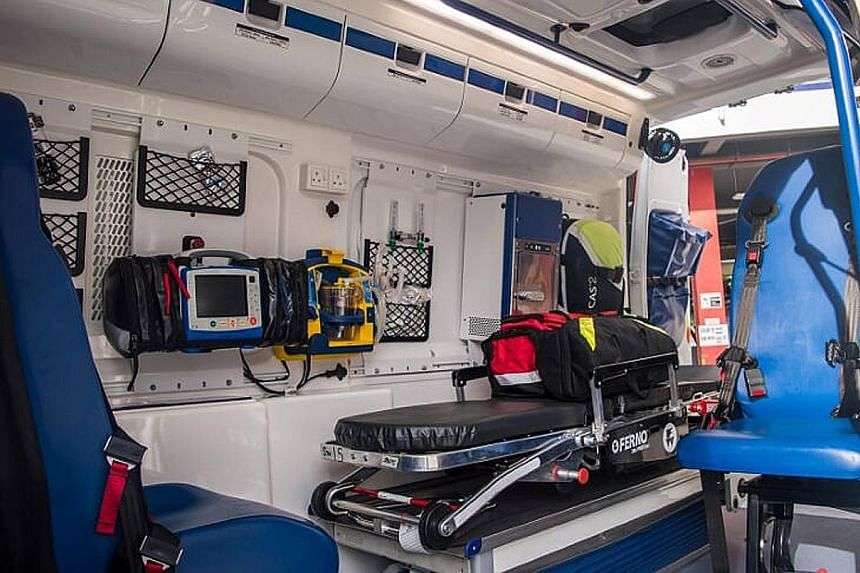 The ambulance deployed by the Singapore Civil Defence Force is chosen for its compactness and load-bearing ability. The patient compartment (above) allows for the easy movement of crew and everything they need is within reach.