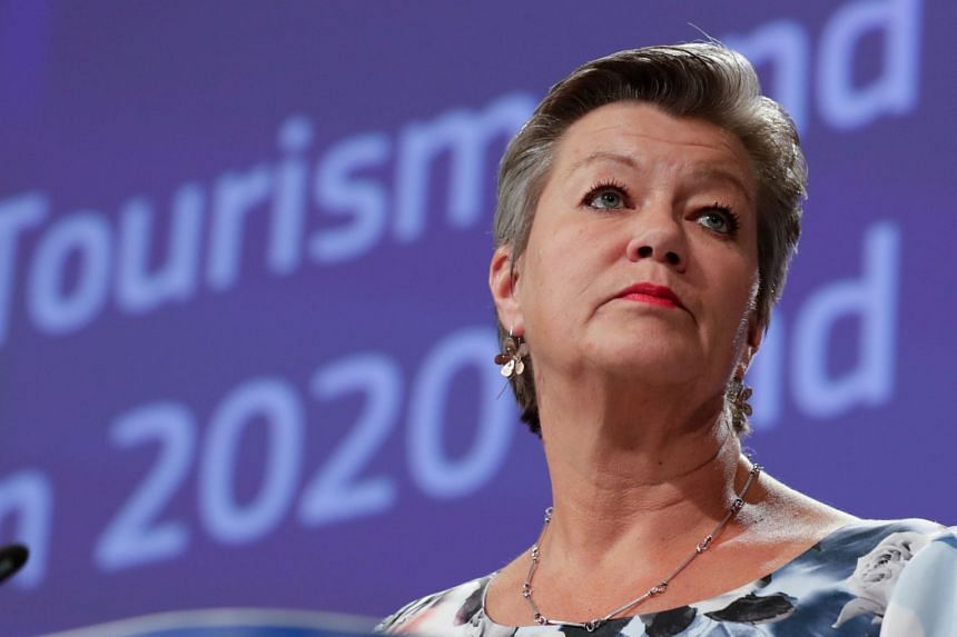 Ylva Johansson addresses a Brussels press conference in May 2020.