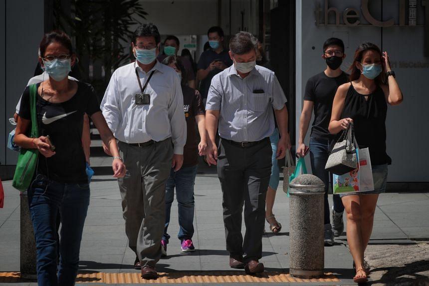 Office workers in Telok Ayer Street on June 3, 2020.