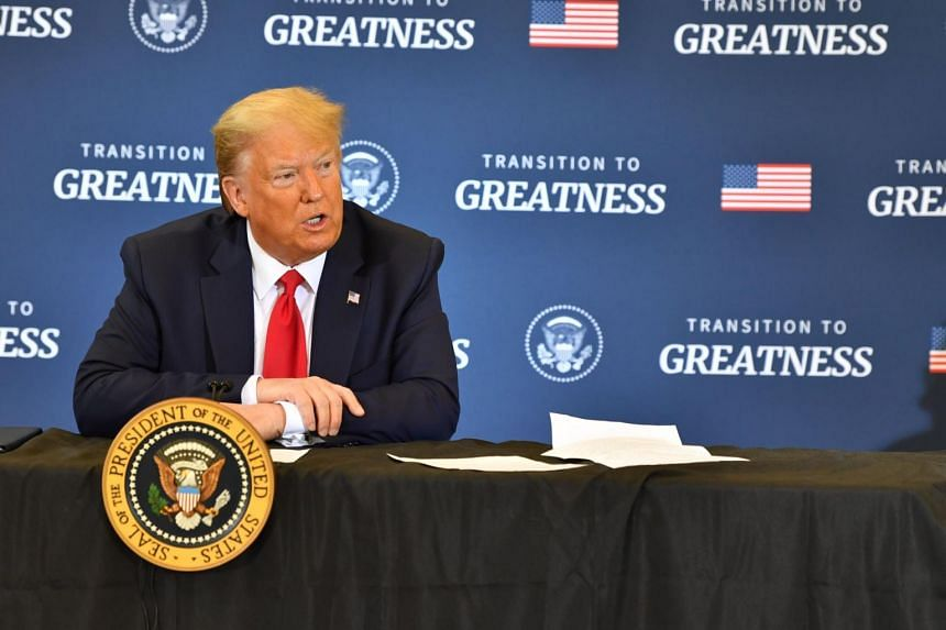 US President Donald Trump joins a roundtable in Bangor, Maine, on June 5, 2020.
