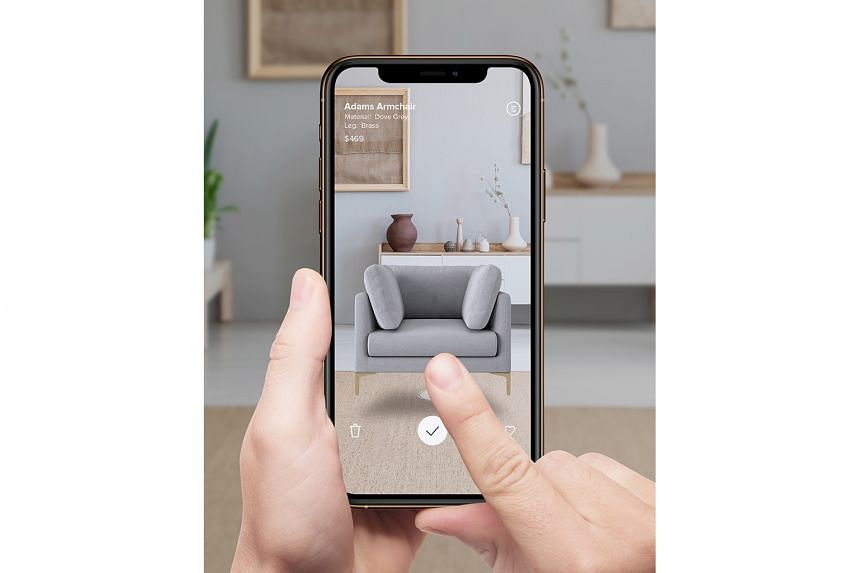 Furniture retailer Castlery's augmented reality app (above) helps users to visualise furniture pieces in their homes before they buy.