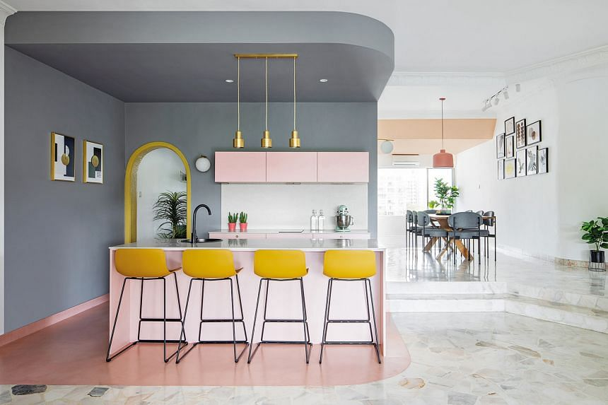 The home owners fell in love with the almost-50-year-old condominium unit's arched doorways and terrazzo flooring.