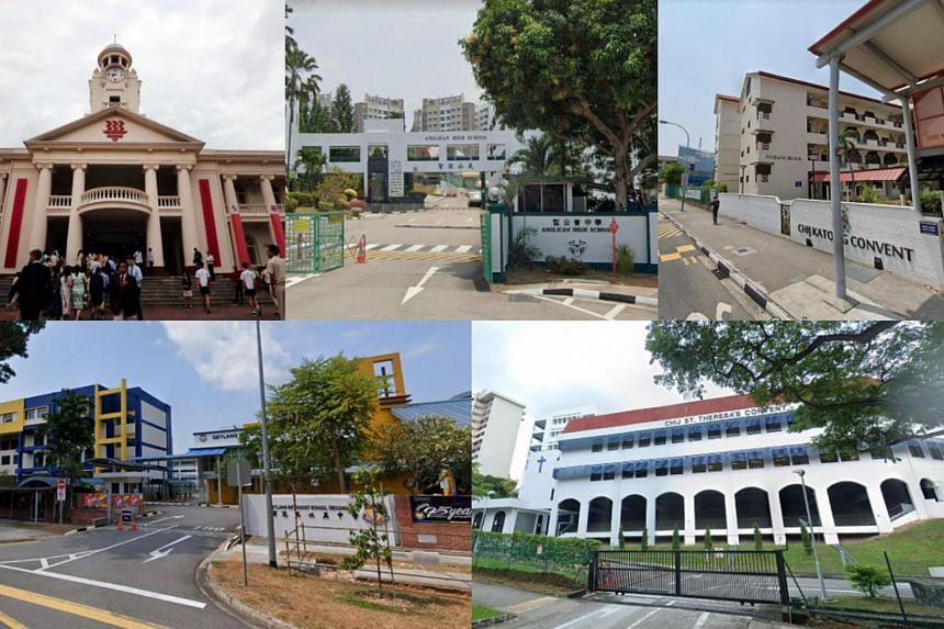 MOE said the five cases are from (clockwise from top left) Hwa Chong Institution, Anglican High School, CHIJ Katong Convent, CHIJ St Theresa's Convent and Geylang Methodist Secondary School.
