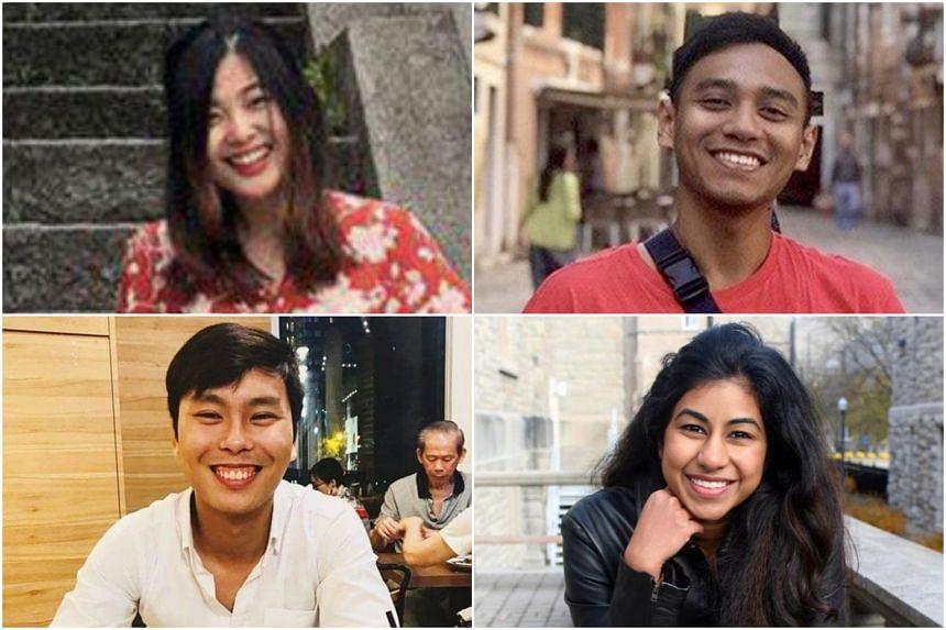 (Clockwise from top left) Ms Rebekah Tan, Mr Raihan Rafi, Ms Nediva Divya Singam and Mr Wayne Lee.