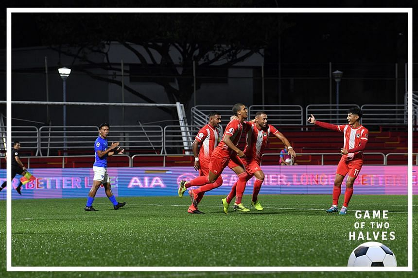 Tanjong Pagar celebrating a goal in the draw against Lion City Sailors on 6 March 2020 at Jurong East Stadium, in their first Singapore Premier League (SPL) match.
