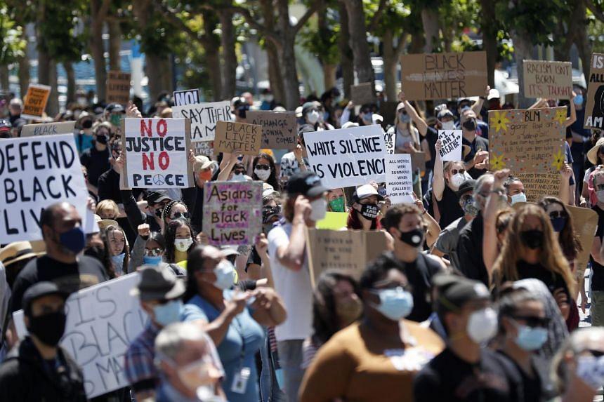 Protesters in San Francisco, California, on June 9, 2020.