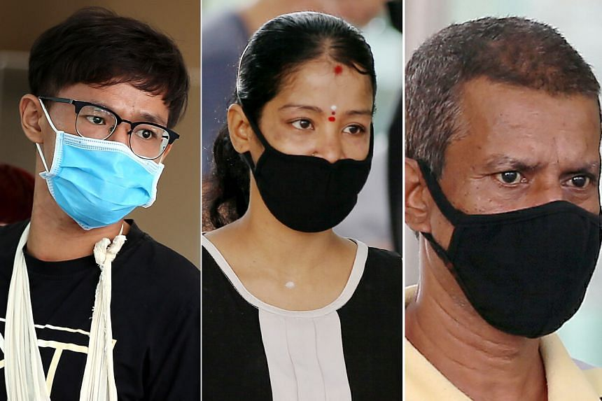 From top: Hubert Ee Meng Chye was charged yesterday with failing to wear a mask properly, among other charges. In separate cases, Letchimi and Ravindran Marimuthu are each facing 12 charges of leaving their respective homes during the circuit breaker
