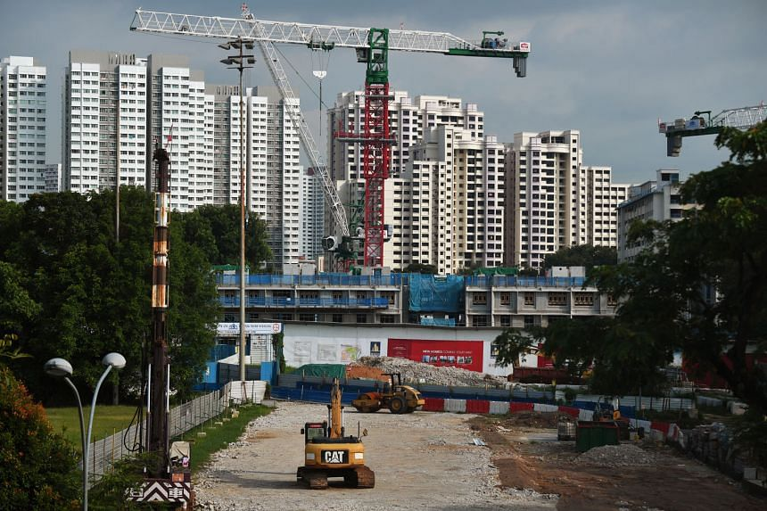 The construction sector has the bleakest outlook for the third quarter in the Singapore Commercial Credit Bureau's latest survey. ST PHOTO: KUA CHEE SIONG