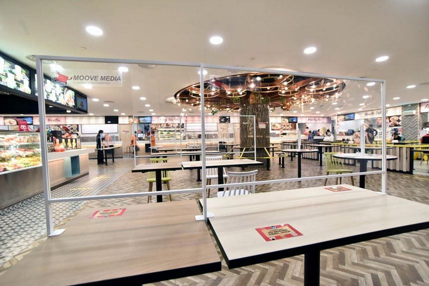 Acrylic table shields will be trialled at Thomson Plaza's Koufu foodcourt.