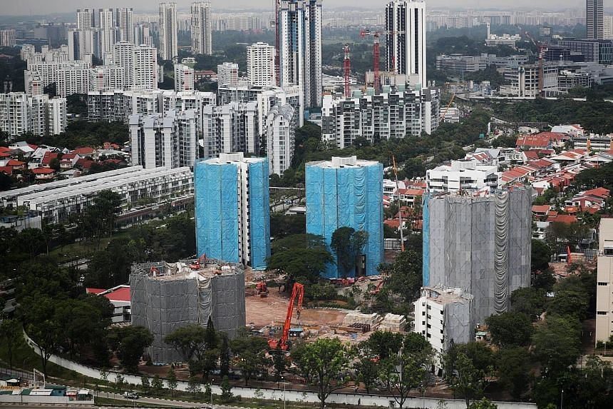 Parc Clematis in Clementi, one of the best-selling projects last month, under construction in December. Developers here sold 484 new private homes in May, going by sale caveats, according to Knight Frank Singapore yesterday. That is a 74.7 per cent i